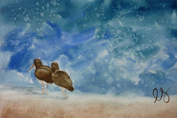Oystercatchers Art Print featuring the painting A Walk On The Beach by Estephy Sabin Figueroa