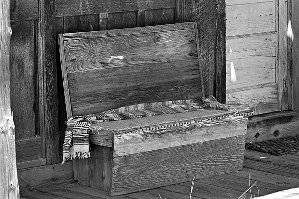 Bench Art Print featuring the photograph A Weathered Bench Black And White by Phyllis Denton