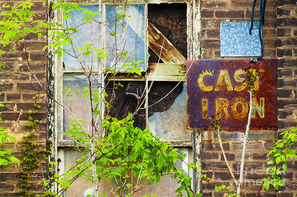 Abandoned Art Print featuring the photograph Abandoned Factory With Rusted Metal Sign by Gordon Wood