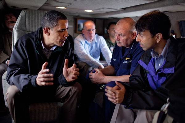 History Art Print featuring the photograph Aboard Marine One President Obama Meets by Everett