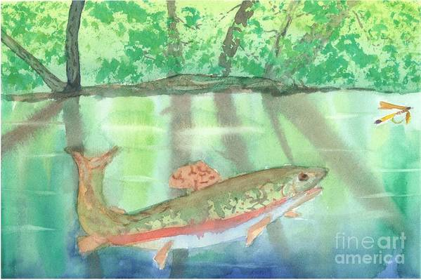 Flyfishing Art Print featuring the painting Adirondack Reflections by David Crowell