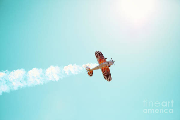 Airplane Art Print featuring the photograph Aerobatic Biplane Inverted by Kim Fearheiley