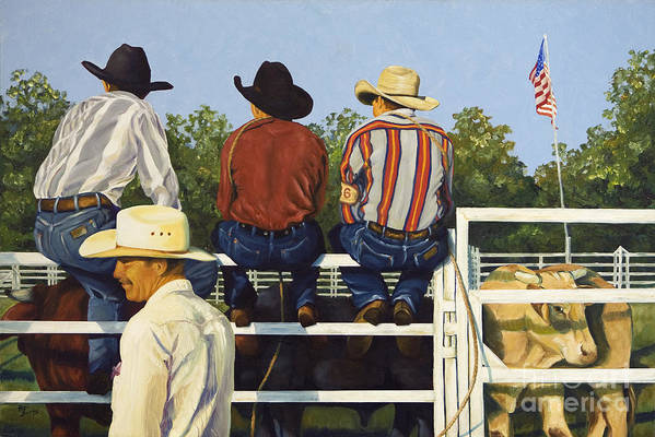 Cowboys Art Print featuring the painting All American by Pat Burns