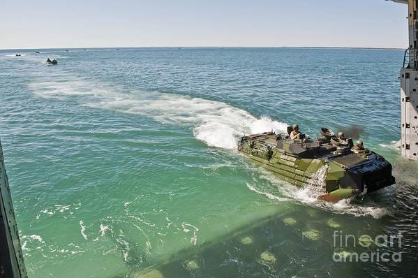 Uss New York Art Print featuring the photograph Amphibious Assault Vehicles Enter by Stocktrek Images