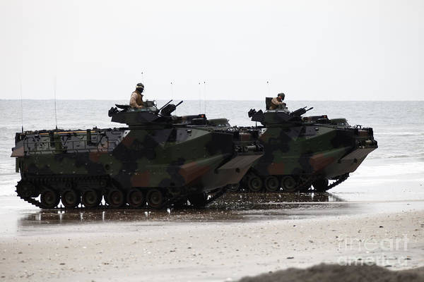 Men Art Print featuring the photograph Amphibious Assault Vehicles Land Ashore by Stocktrek Images