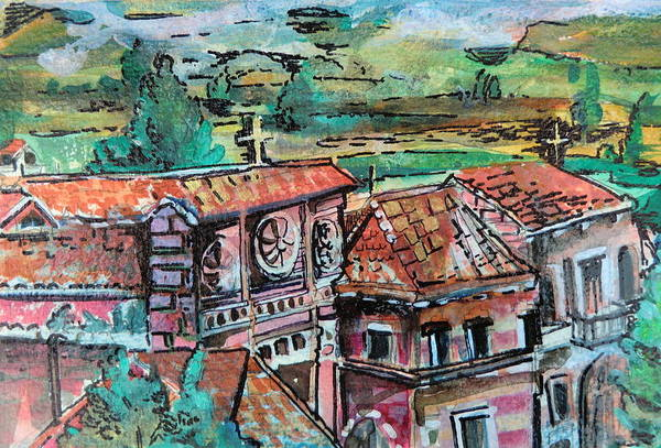 Assisi Print featuring the painting Assisi Italy by Mindy Newman