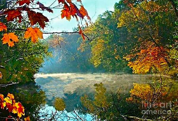 White River Scene Art Print featuring the photograph Autumn On The White River I by Julie Dant