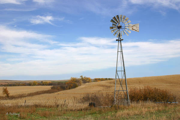 Windmill Photo Art Print featuring the photograph Autumn Windmill by Andrea Kelley