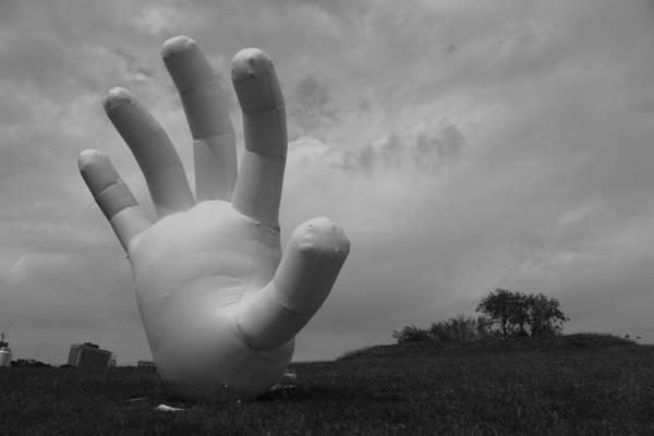 Hand Art Print featuring the photograph Balloon Hand by Nina Mirhabibi