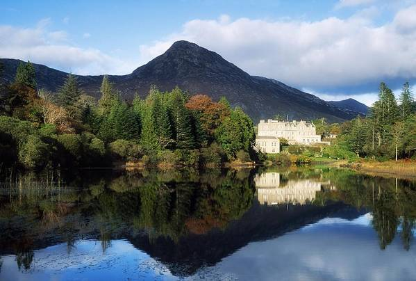 Autumn Print featuring the photograph Ballynahinch Castle Hotel, Twelve Bens by The Irish Image Collection