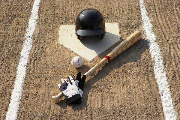 Horizontal Art Print featuring the photograph Baseball, Bat, Batting Gloves And Baseball Helmet At Home Plate by Thomas Northcut