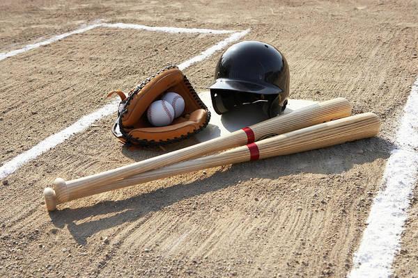 Horizontal Print featuring the photograph Baseball Glove, Balls, Bats And Baseball Helmet At Home Plate by Thomas Northcut