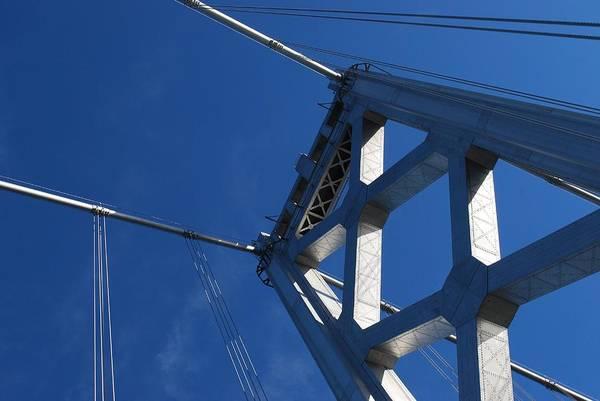 Horizontal Print featuring the photograph Bay Bridge And Blue Sky, San Francisco by Jamie Jennings www.JJphotos.ca