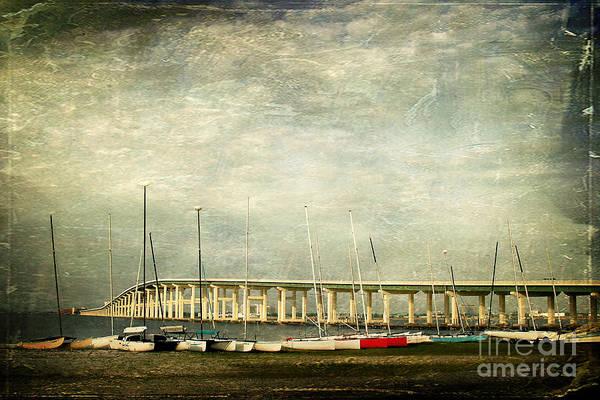 Biloxi Ocean Springs Bridge Art Print featuring the photograph Biloxi Bay Bridge by Joan McCool