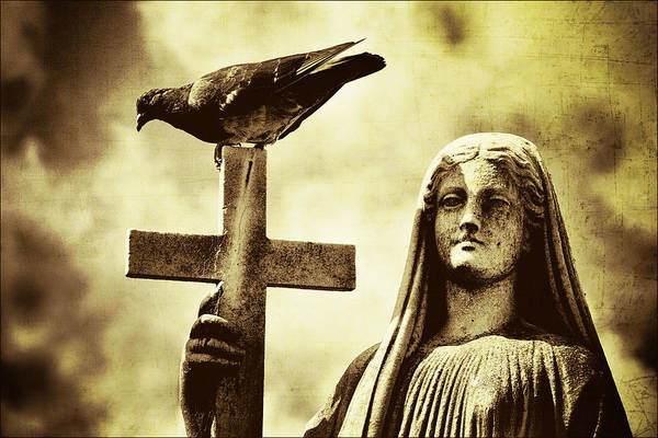 Sculpture Art Print featuring the digital art Bird On The Cross by Diane Dugas