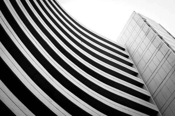 Angle Art Print featuring the photograph Black And White Building Curve Shape by Kittipan Boonsopit