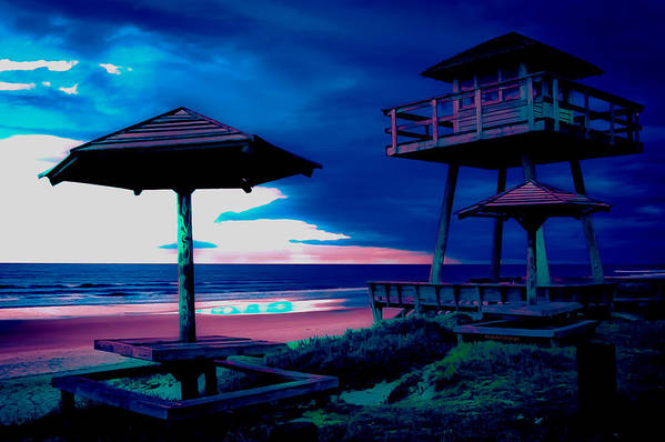 Tower Art Print featuring the photograph Blacklight Tower by DigiArt Diaries by Vicky B Fuller