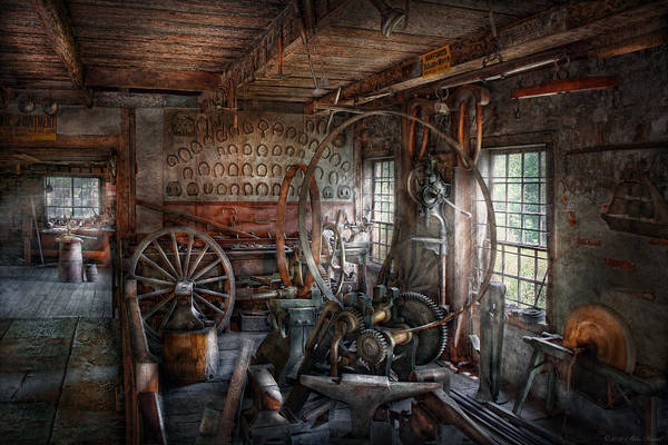 Building Trades Art Print featuring the photograph Blacksmith - That's A Lot Of Hoopla by Mike Savad