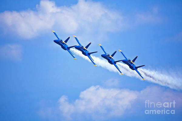 Blue Angels Art Print featuring the photograph Blue Angels On Flyby by Mark East
