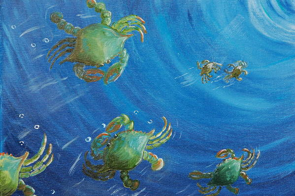 Crabs Art Print featuring the painting Blue Crab Run by Katheryn Napier