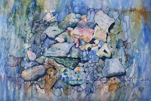 Stylized Under Water Still Life/landscape Art Print featuring the painting Blue Creek Stones by Patsy Sharpe