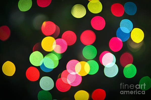 Blurred Art Print featuring the photograph Blurred Christmas Lights by Elena Elisseeva