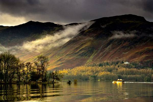 Attractions Print featuring the photograph Boat On Lake Derwent, Cumbria, England by John Short