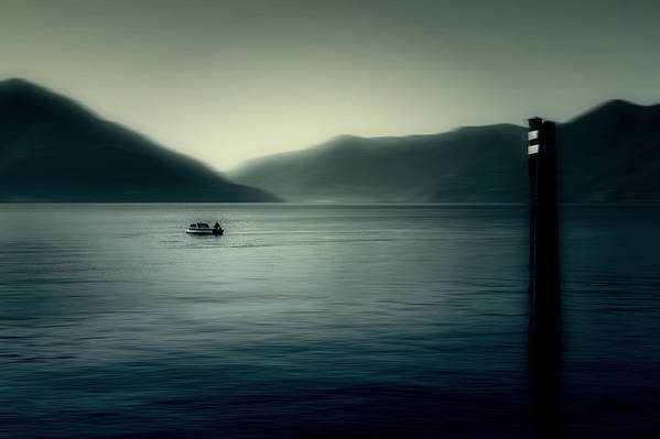 Boat Art Print featuring the photograph boat on the Lake Maggiore by Joana Kruse