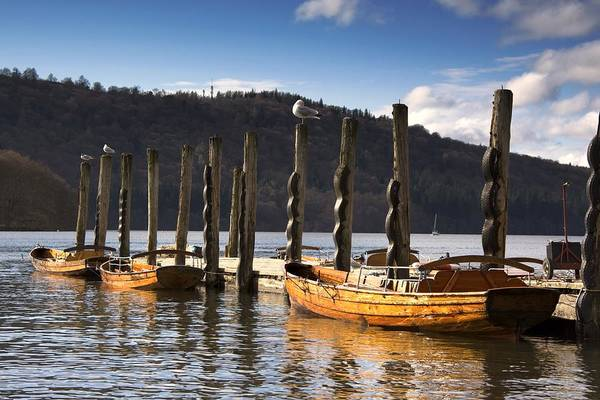 At The Pier Art Print featuring the photograph Boats Docked On A Pier, Keswick by John Short