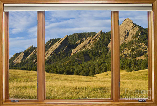 Flatiron Art Print featuring the photograph Boulder Colorado Flatirons Window Scenic View by James BO Insogna