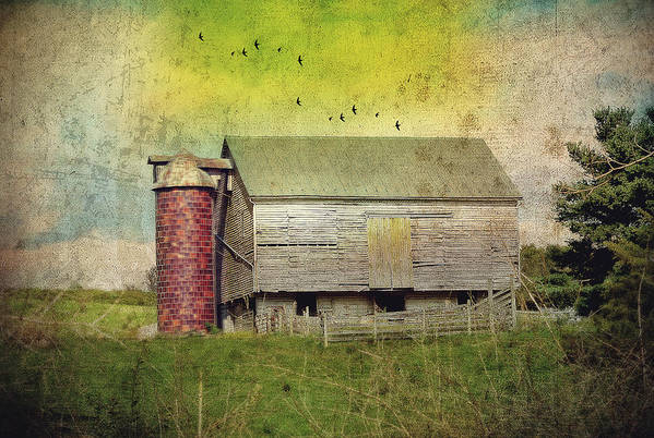 Farm Art Print featuring the photograph Brick Silo by Kathy Jennings