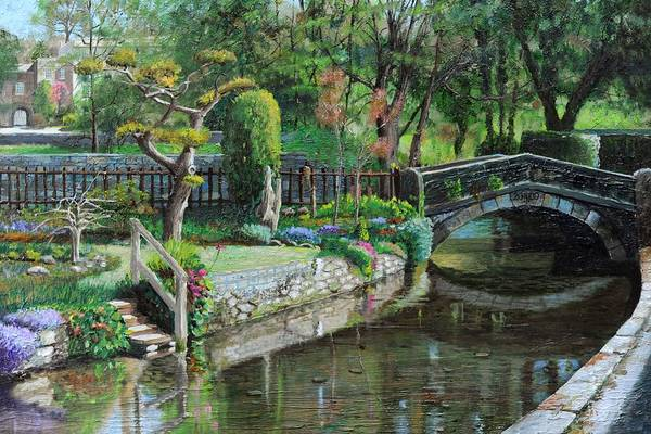 Scenic; Peak District; Garden; Flowers; Flower; Tranquil; Serene; English Landscape; Bridge; Bakewell; Derbyshire ; Tree; Trees; Water; Stairs Art Print featuring the painting Bridge And Garden - Bakewell - Derbyshire by Trevor Neal