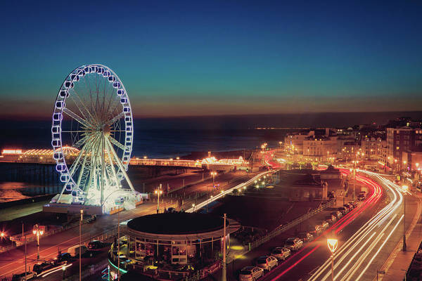 Horizontal Art Print featuring the photograph Brighton Wheel And Seafront Lit Up At Night by PhotoMadly