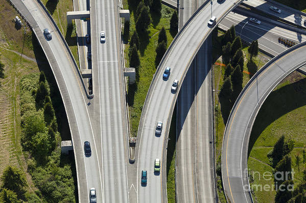 Aerial Art Print featuring the photograph Busy Freeway Interchange by Don Mason