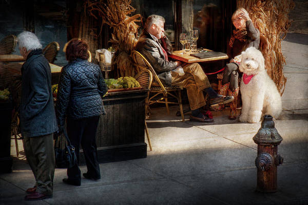 Dog Art Print featuring the photograph Cafe - Ny - High Line - Waiter I Would Like To Order by Mike Savad