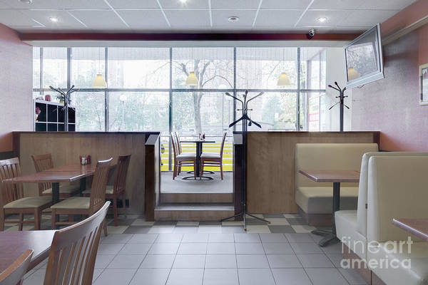 Booths Art Print featuring the photograph Cafe Dining Room by Magomed Magomedagaev