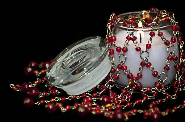 Candle Art Print featuring the photograph Candle And Beads by Carolyn Marshall