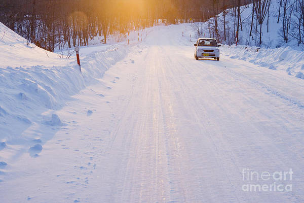 Automobile Art Print featuring the photograph Car On Snow Covered Road by Jeremy Woodhouse