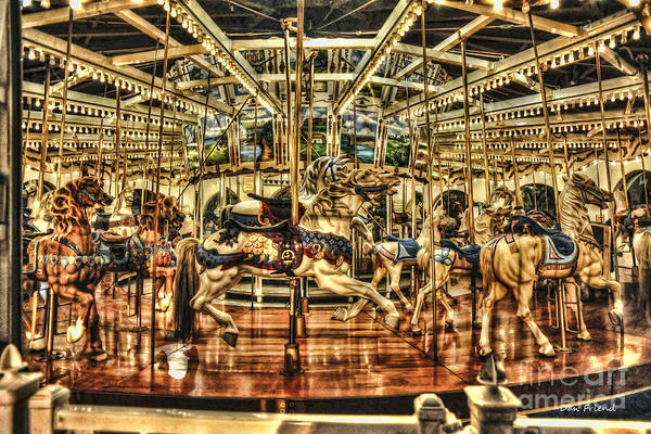 Carousels Art Print featuring the photograph Carousel With Horses by Dan Friend