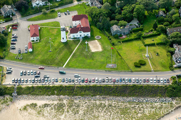 Aerial Art Print featuring the photograph Cars Line Up At The Parking Lot At Chatham Lighthouse And Chatha by Matt Suess