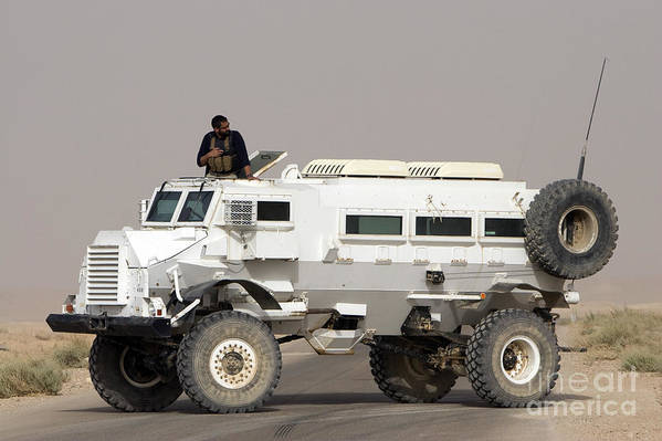 Iraq Print featuring the photograph Casper Armored Vehicle Blocks The Road by Terry Moore