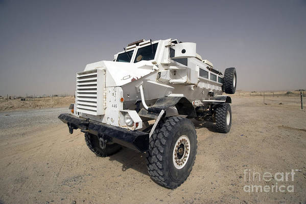 Iraq Art Print featuring the photograph Casper Armored Vehicle Sits by Terry Moore