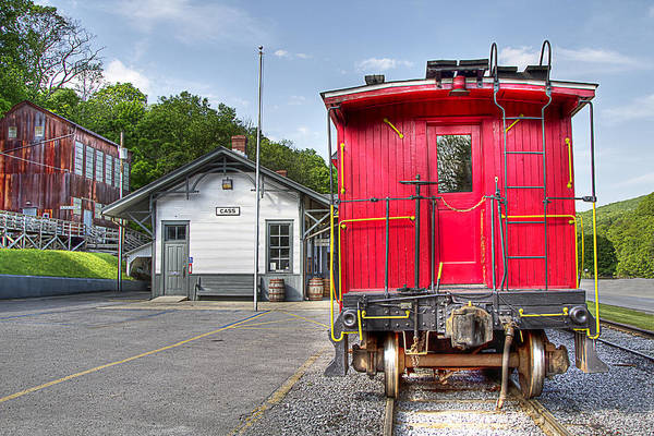 Locomotive cass Scenic Railroad west Virginia Scenic Rural Lumber Timber Cass steam Engines steam Locomotive Railroad Railway Caboose Art Print featuring the photograph Cass Caboose by Tom Steele