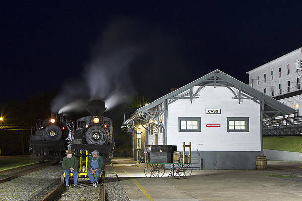 Cass west Virginia cass Scenic Railroad Railroad Nightime Art Print featuring the photograph Cass Station At Night by Tom Steele