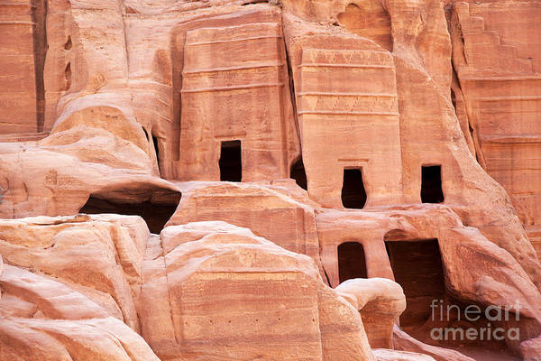 Ancient Art Print featuring the photograph Cave Dwellings Petra. by Jane Rix