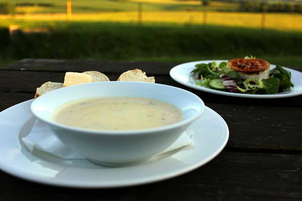 Soups Art Print featuring the photograph Celery Root Soup And Salad by Rdr Creative