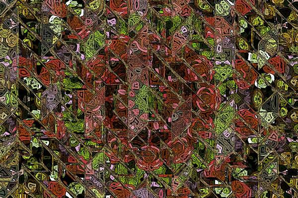 Chaos Abstract Digital Painting Red Rose Roses Black Hole Mosaic Texture  Print featuring the painting Chaos by Steve K