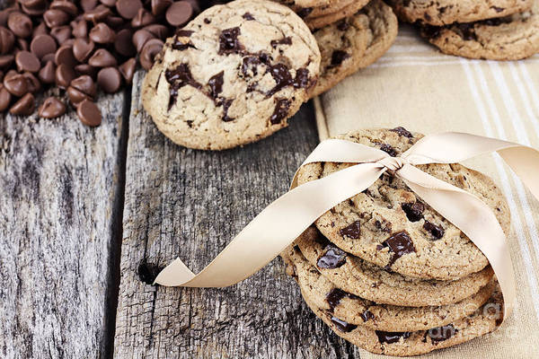 Cookie Art Print featuring the photograph Chocolate Chip Cookies And Chocolate Chips by Stephanie Frey