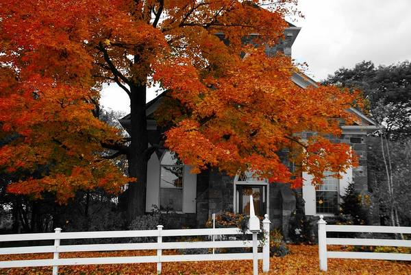 Fall Art Print featuring the photograph Church In Autumn by Andrea Kollo