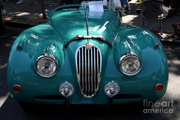 Transportation Art Print featuring the photograph Classic Green Jaguar . 40d9411 by Wingsdomain Art and Photography